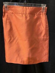 J.Crew Skirt Women Sz.4-Silk-Tangerine-Side Zip-Lined-2 Pkts