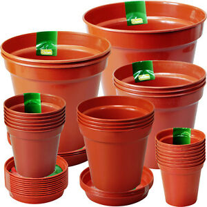 "3"" to 10"" Rigid Terracotta Colour Plastic Plant Pots & Saucers (sold separately)"
