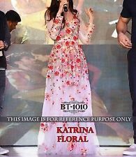Bollywood Designer Party Wear Latest White Color Floral Print Gown Dress