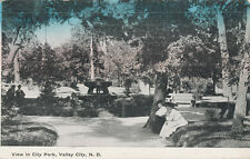 Valley City Nd * View in City Park 1913 Hand Tinted * Barnes Co.