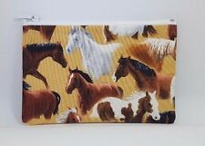 Equestrian Horses Fabric Handmade Zippy Coin Money Purse Storage Pouch