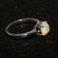 Natural Ethiopian Opal Women Beautiful Solid Silver Simple Women Ring WSR-306