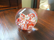 Beautiful Collectible Art Glass Paperweight Red White