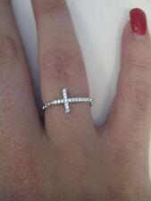 Anello donna croce argento 925 e zirconi bianchi 12-16-20 Ring Silver