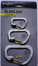 Nite Ize Slidelock Carabiner Combo Sizes #2,#3,#4 Stainless Steel CSLC-11-R6 NEW