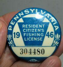 Vintage Blue 1946 Pennsylvania Resident Fishing License Button Pin / Nice