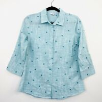 W-Lane Womens Shirt Cotton Turquoise Blue Button Polka Dot 3/4 Sleeve Size 10