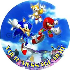 Sonic the Hedgehog Personalised Edible Kids Party Cake Decoration Topper Image