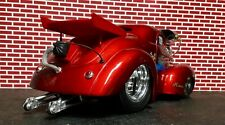 Muscle Machines 1/18 Slammed Drag 41 Willys Hemi Coupe w/ Wheelie Bars and Chute