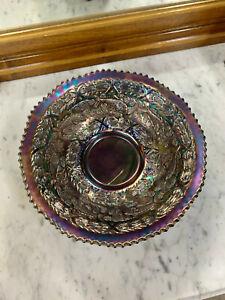 Carnival Glass Bowl- Blue/ Amethyst Fish Design