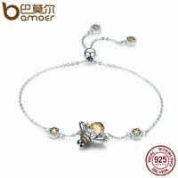 BAMOER Real S925 Sterling silver Women Bracelet Flying bee Charm & CZ Jewelry
