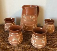 5 pc Lapithos Cyprus Handmade Terracotta Pottery Stoneware Geo PITCHER 4 CUPS