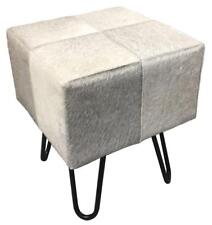 Grey Cowhide Stool / Seat - Iron Legs - Genuine Hair on Leather - 45cm high