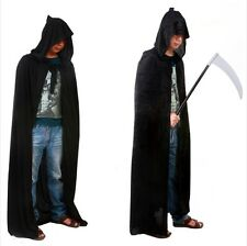 "New Adult Unisex 69"" Hooded Cape Long Cloak Black Halloween Costume Dress Coat W"