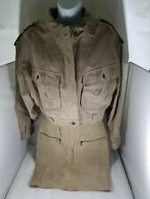 Vintage Womens SPLIT END LTD Beige Suede Leather Pencil Skirt & Jacket Set Zip M