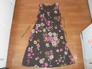 Gap Maternity brown sundress with pink floral design size S