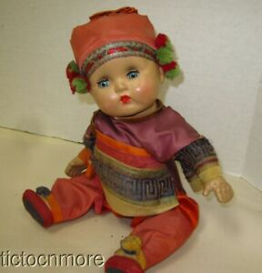 """VINTAGE COMPOSITION BOY DOLL BLUE SLEEP EYES CHINESE EMPORER PUYI OUTFIT 11"""""""