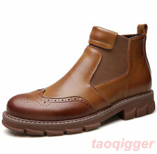Mens Ankle Boots Chelsea High Top Brogue Non-slip Casual Pull on Leather shoes