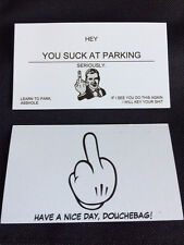 You Suck At Parking Cards - High Quality - 10 Pk FREE SHIPPING! Double-Sided!