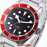 41mm CORGUET black dial Sapphire Glass date miyota Automatic diving mens Watch