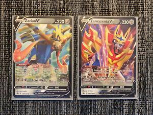 Zacian V SWSH018 and Zamazenta V SWSH 019 Promo Cards Pokémon Cards Near Mint