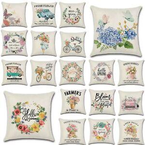 "18"" Flower Market Spring Floral Throw Pillow Cover Linen Decorative Cushion Case"