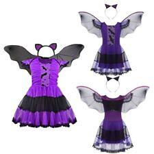 Child Girl Evil Bat Costume Halloween Princess Fancy Dress Cosplay Wing Headband