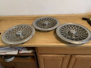 """OEM GM Set of 3 1977-1987 Chevrolet Caprice Diamond Patterned 15"""" Inch Hubcaps"""