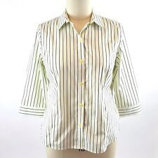 JONES NEW YORK Shirt Easy Care XL Green Black Stripe 3/4 Sleeve Button Front