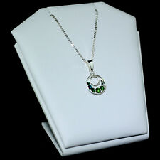 925 STERLING SILVER ROUND PENDANT WITH SWAROVSKI CRYSTALS AND CHAIN NECKLACE