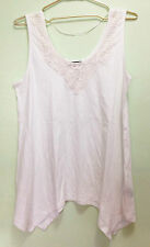 NWOT Concepts White Crochet Neck Sleeveless Swing Top Sz S Fit Plus XL Maternity