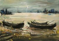 ON THE LAKE, BOATS Painting by Mark KREMER (b.1928), Original oil seascape 8x12