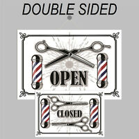 Retro style Open and Closed double sided sign 9501 Barber Shop Hairdresser signs