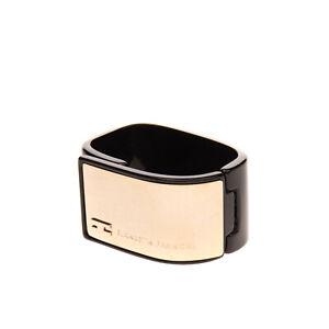 ELISABETTA FRANCHI Bangle Bracelet Two Tone Logo Detail Magnetic Made in Italy
