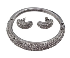 Gorgeous Christian Dior Silver Tone Pave Rhinestone Bracelet & Pierced Earrings