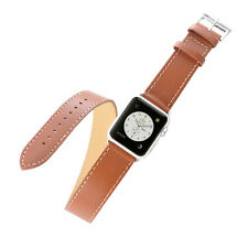 KR-NET Double Tour Leather Watch Strap Band Luxury Wrap for Apple Watch 38mm