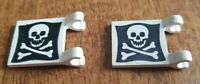 2x Lego 2335pb212 Flag 2x2 with thick clips-Skull + crossbones pattern