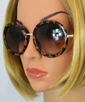 Women's Round Frame Gold Tortoiseshell Sunglasses 100% UV Protection
