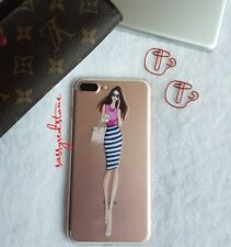 FASHIONISTA IPHONE 7 PLUS CLEAR CASE- LADY BOSS OFFICE OOTD ( STRIPES SKIRT)