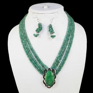 5 Strand Natural Emerald Designer Necklace 925 Silver emerald Pendant and Clasp