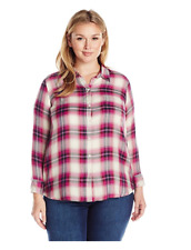 Lucky Brand Womens Pink Plaid Button Side Blouse Top Plus 2X