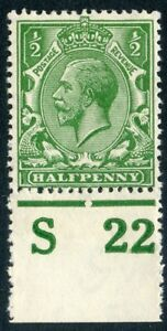 1922 ½d deep cobalt-green wmk Royal C unused o.g. Spec N14(18).