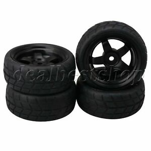 RC 1: 10 On-road Racing Car Black Wheel Rims Rubber Tires 65mm OD Pack of 4