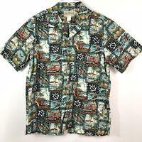 Blue Hawaii Mens Large Aloha Beach Short Sleeve Hawaiian Shirt Made in Hawaii