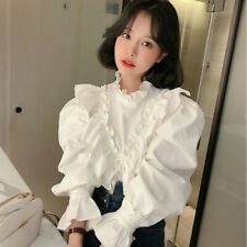 Lady Ruffle Lolita T Shirt Blouse Sweet Long Puff Sleeve Tops Chic Victorian