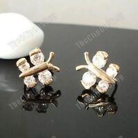 U CLIP ON non-pierced CZ crystal BUTTERFLY EARRINGS cubic zirconia 14K GOLD PLTD