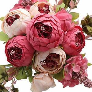 Fake Peonies Faux Flower Vintage Artificial Peony Silk Flowers Pink Red