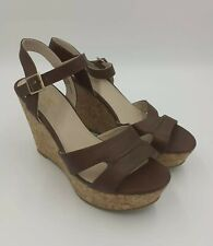 Brown Faux Leather Platform Wedge High Heeled Sandals UK 7 Strappy Matalan Fiore
