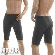 New XXL Mens Shiny Black Lycra VIGA Swim Cycle Shorts Trunks Jammer RUN.227.Long