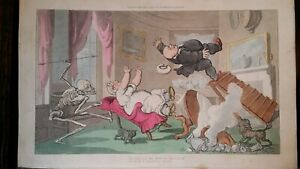 1815 ANTIQUE CARICATURE ENGLISH DANCE OF DEATH WINDING UP THE CLOCK - ROWLANDSON